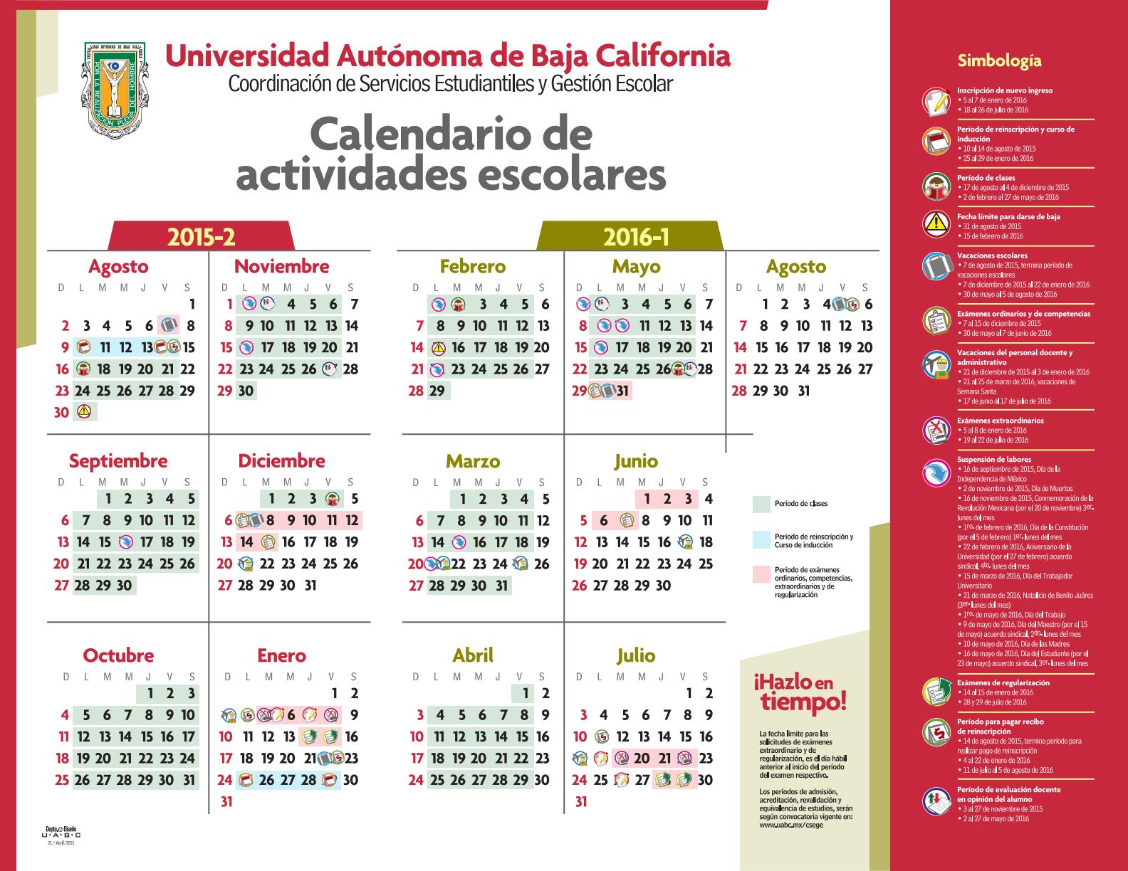 Calendario 2016 Uabc | Calendar Template 2016