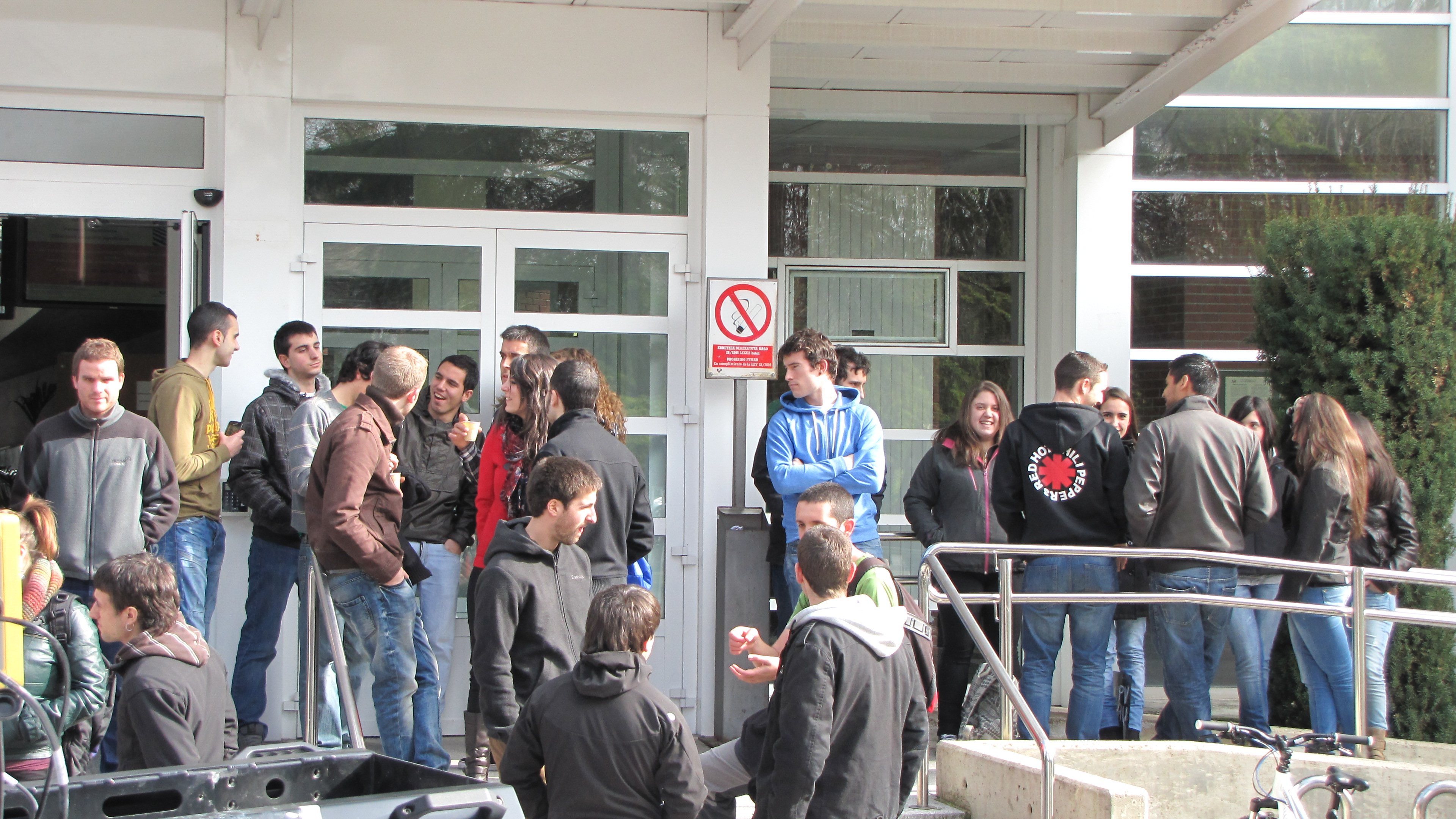 Students at the school gate