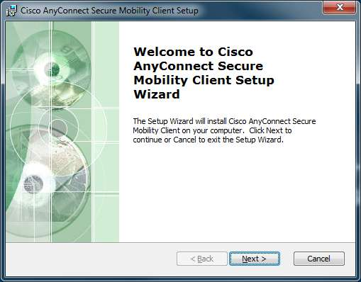 Welcome to Cisco AnyConnect Secure Mobility Client Setup Wizard: Next