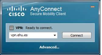 VPN Ready to connect: vpn.ehu.es. Connect